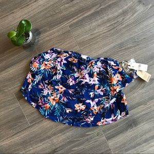 Floral Blue strapless crop *NWT* size XS